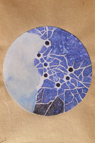 Métropole / Collage, stylo plume encre bleue, 10,9 x 17,8 cmsur papier de livre / 2015 - NON DISPONIBLE -